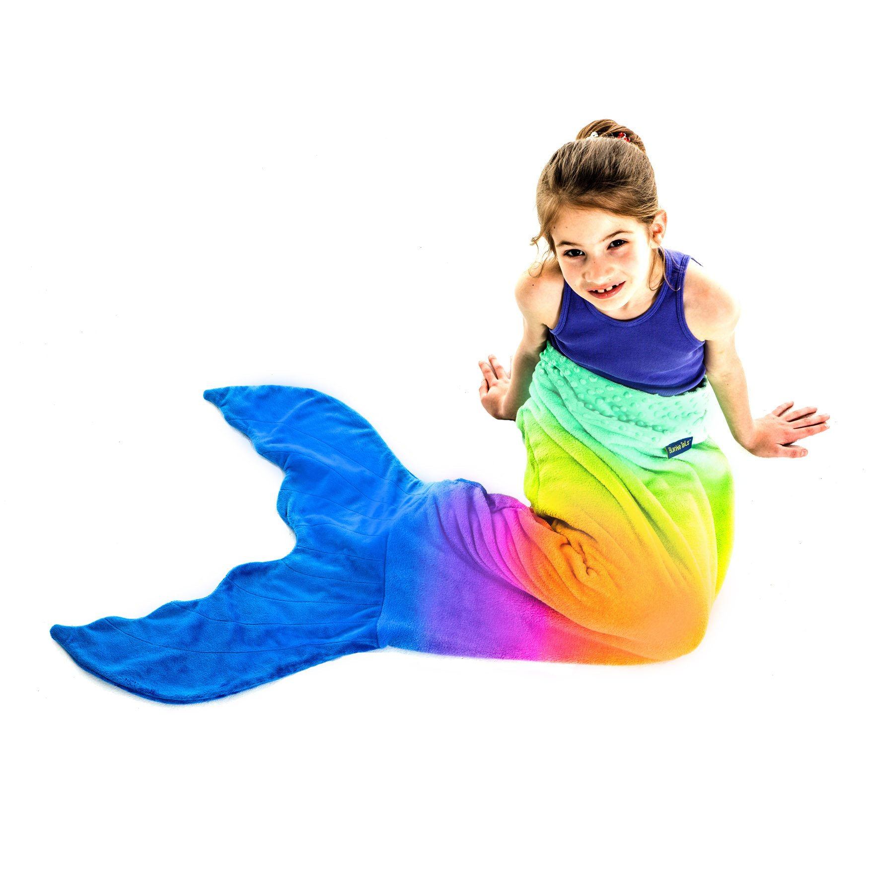 Mermaid Tail Blanket - Gorgeous Rainbow Ombre Design - Double-Sided Minky Fleece Mermaid Tail Sized for Kids - Climb Inside This Cozy Wearable Blanket by Blankie Tails