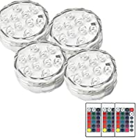 Submersible Led Underwater Lights, REDGO Battery Powered, 10 LED RGB MultiColor Lights with IR Remote Controller for Hot Tub Sub Rockery Grass Land Bath Disco Bar Spa Floral Centerpiece Stage, 4 Packs