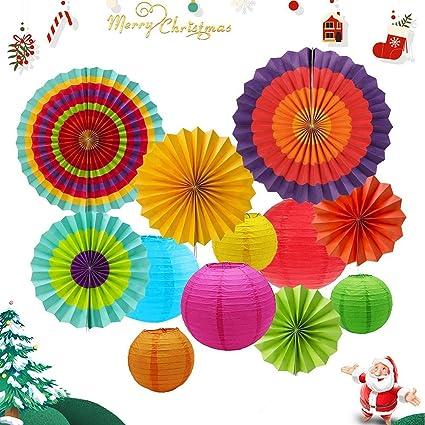 12pcs Colgante Decoracion Fiesta Paper Fan Faroles Fiesta Mexicana