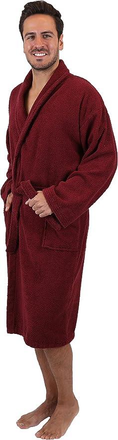Betz Albornoz de Tejido de Rizo 100% algodón señoras y señores con Cuello Chal Athen Tallas S-XXL Size L - púrpura: Amazon.es: Hogar