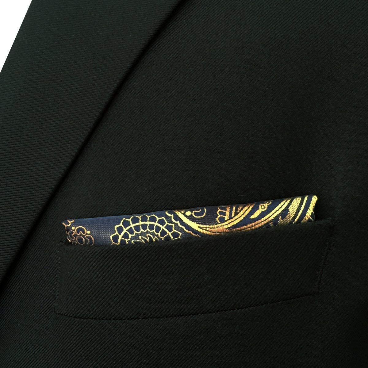 335ac04baac1 Shlax/& Wing Paisley Black Gold Pocket Square Mens Ties Silk Hankies  Handkerchief Shlax /