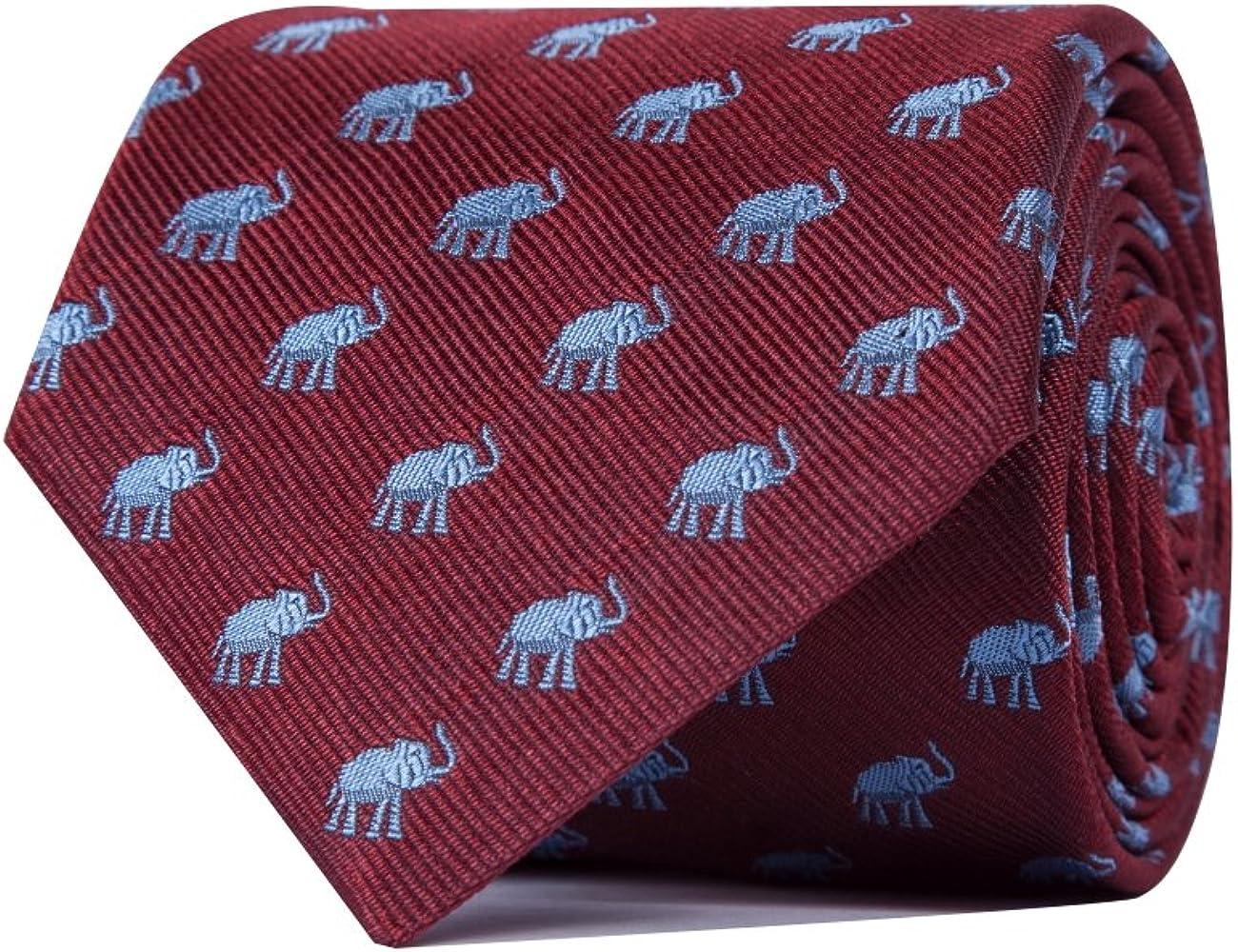 SoloGemelos - Corbata Elefantes - Burdeos - Hombres - Talla Unica ...