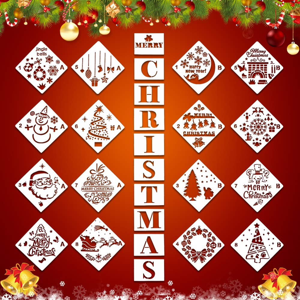 26Pcs Christmas Plastic Painting Stencils, Reusable Porch Logo Stencil Merry Christmas Expression Template DIY Card Craft Art Painting Spray Window Glass Wood Airbrush and Wall Art by XILONG