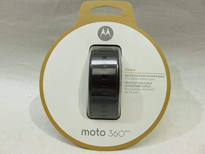 Motorola Leather Band for Moto 360 Mens 46mm Smartwatches - Black - 89850N