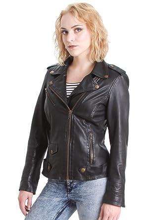 385a0eb38103 Faneema Lolo Classic Moto Lambskin Leather Jacket for Women