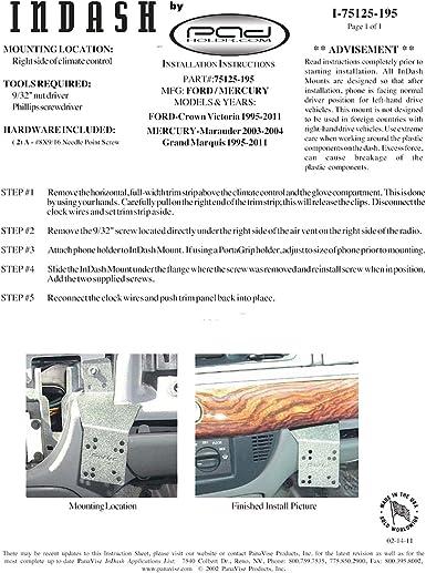 Padholdr Utility Series Premium Locking Tablet Dash Kit for 1995-2011 Mercury Grand Marquis Pad Holdr PHUC-GB.75125-195-2.717-06SF