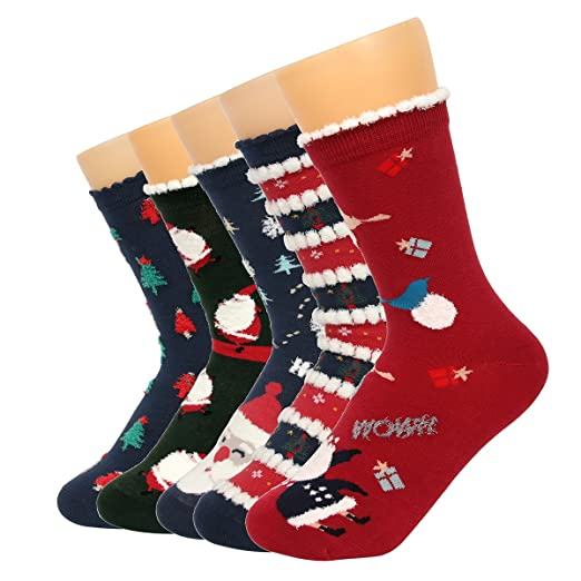 pro1rise womens funny christmas holiday colorful cotton comfort casual crew dress socks