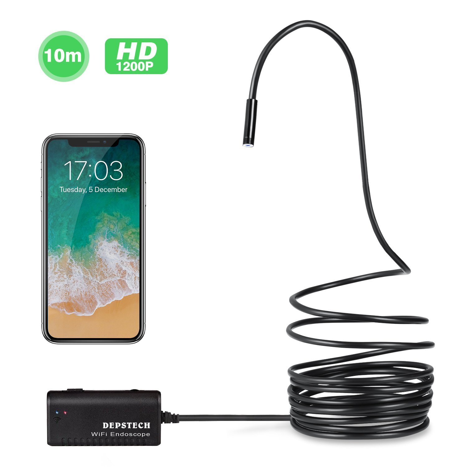 Wireless Endoscope, Depstech Semi-Rigid WiFi Borescope Inspection Camera 2.0 Megapixels HD Snake Camera for Android and iOS Smartphone, iPhone, Samsung, Tablet - Black (33FT)