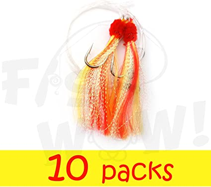 24 Packs 5//0 Shrimp Fly Rigs White Rock Fishing Lures