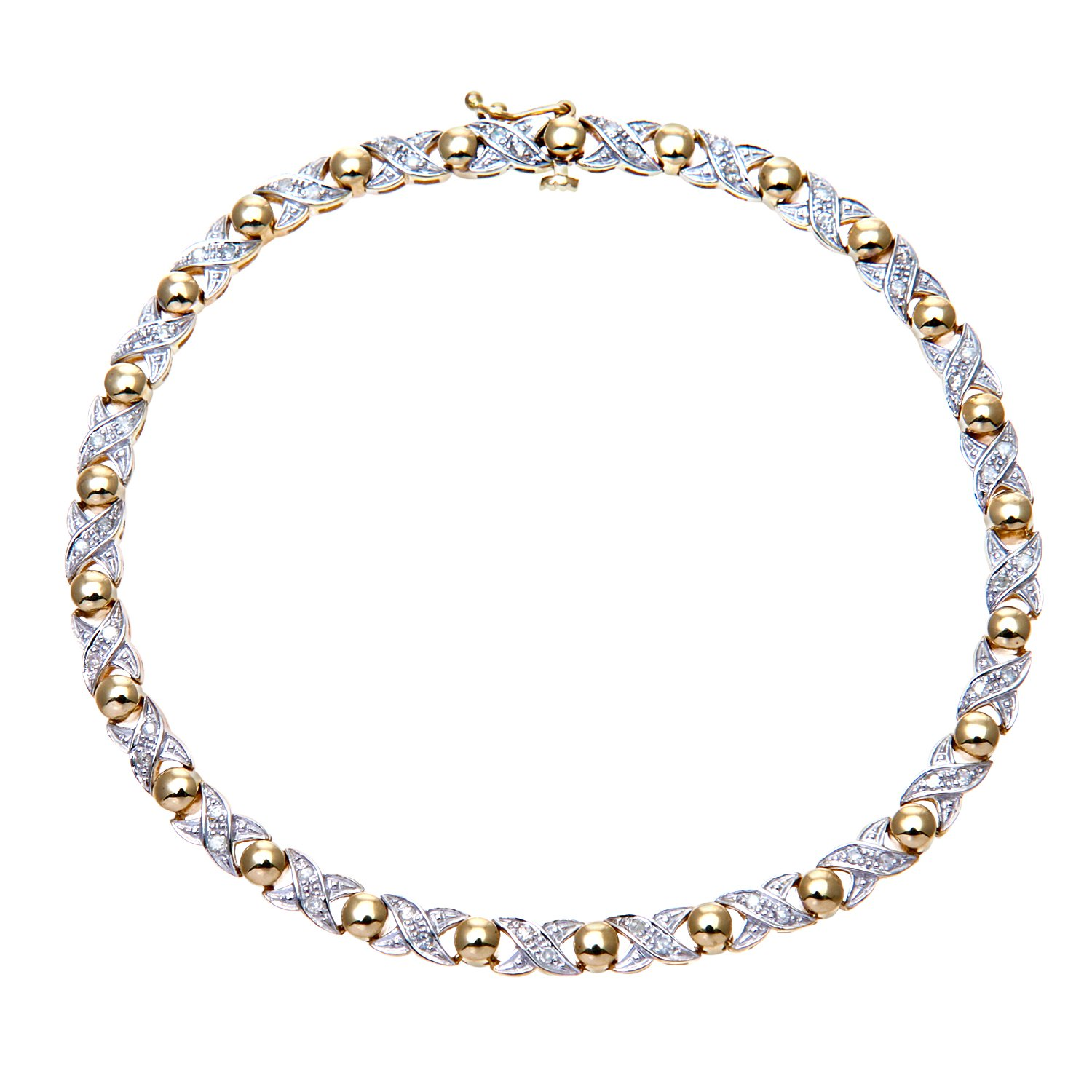 La s Diamond Bracelet 9ct Yellow Gold Pave Setting 0 25 Carat