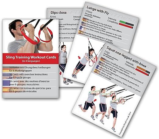 Variosling® Cartas de Entrenamiento en Suspensión con 54 Ejercicios   Plan/Rutina/instrucción del Entrenamiento Funcional/Muscular   Juego de Naipes ...