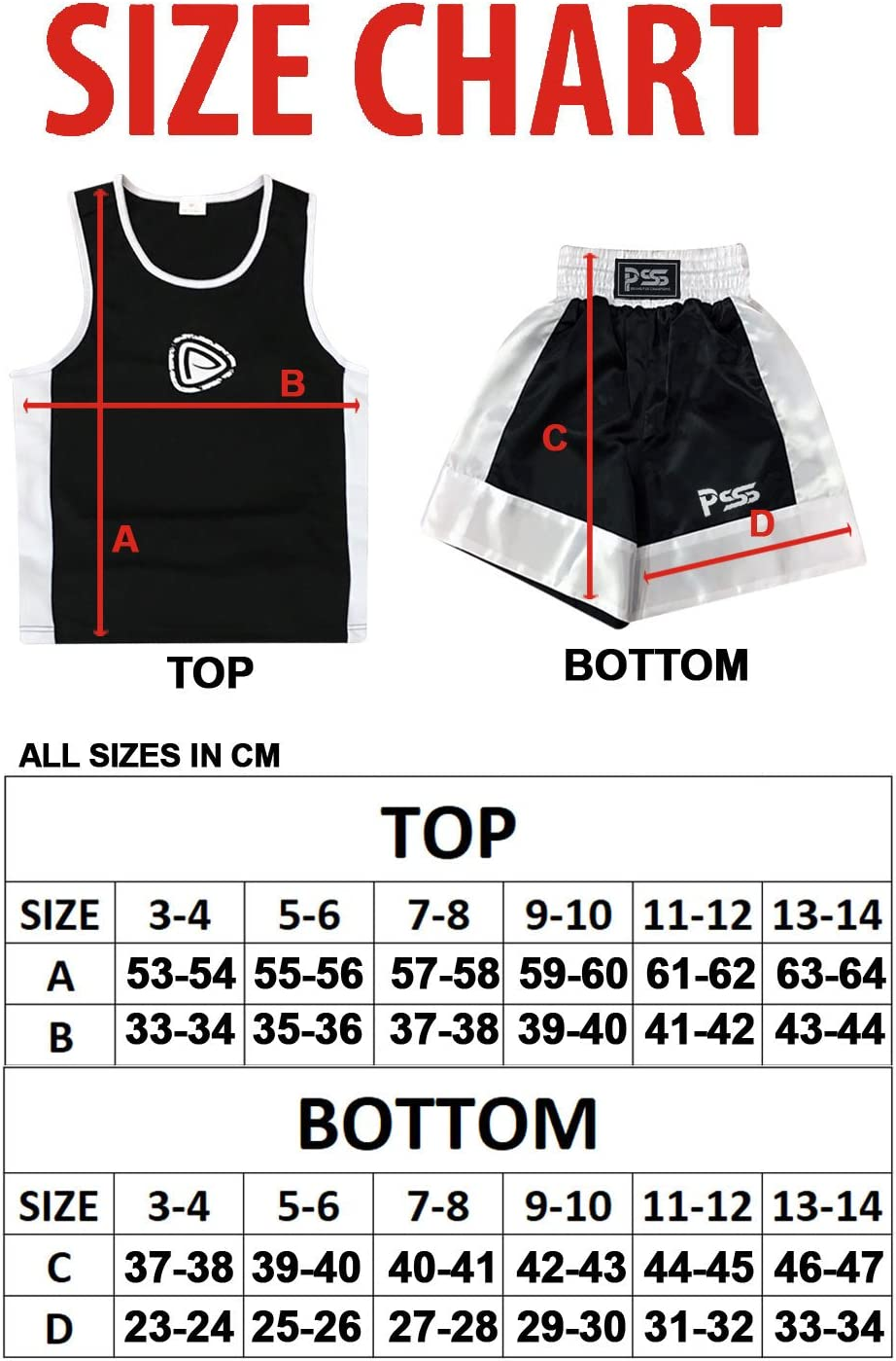 From Ages 3-14 PSS Ultimate Kids Boxing Student Uniform Two Comfortable Pieces Set And 6oz boxing gloves Colour: Black and white Top and Short Breathable Fabric