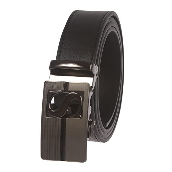 Mens Plain Leather Slide Ratchet Dress Belt with Automatic Buckle