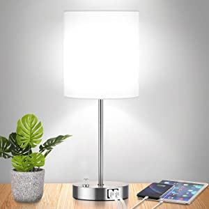 Fully Dimmable Table Lamp with USB Ports, 60W Equvi 5000K Daylight Edison Bulb Included, Stepless Dimming Bedside Nightstand Desk Lamp with AC Outlet, Perfect Décor for Bedroom Living Room Nursery