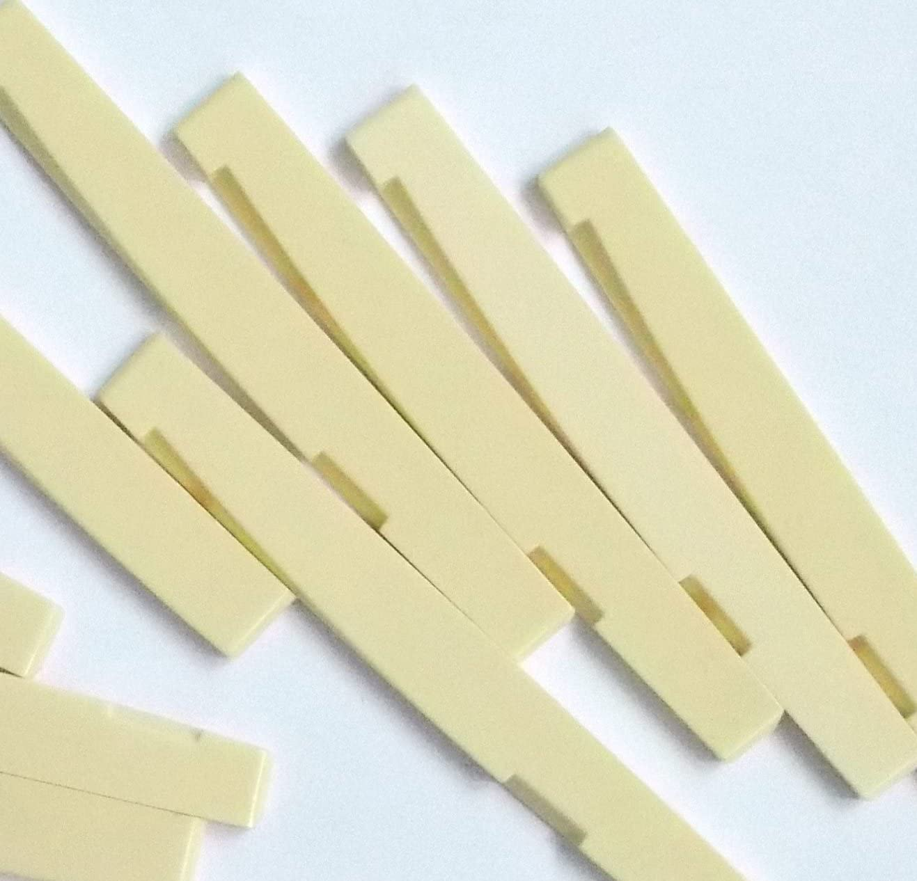 Generic 5 pcs Acoustic Guitar Saddles for 6 String Guitar Plastic 74 x 3 x 7.8-6.8 Ivory