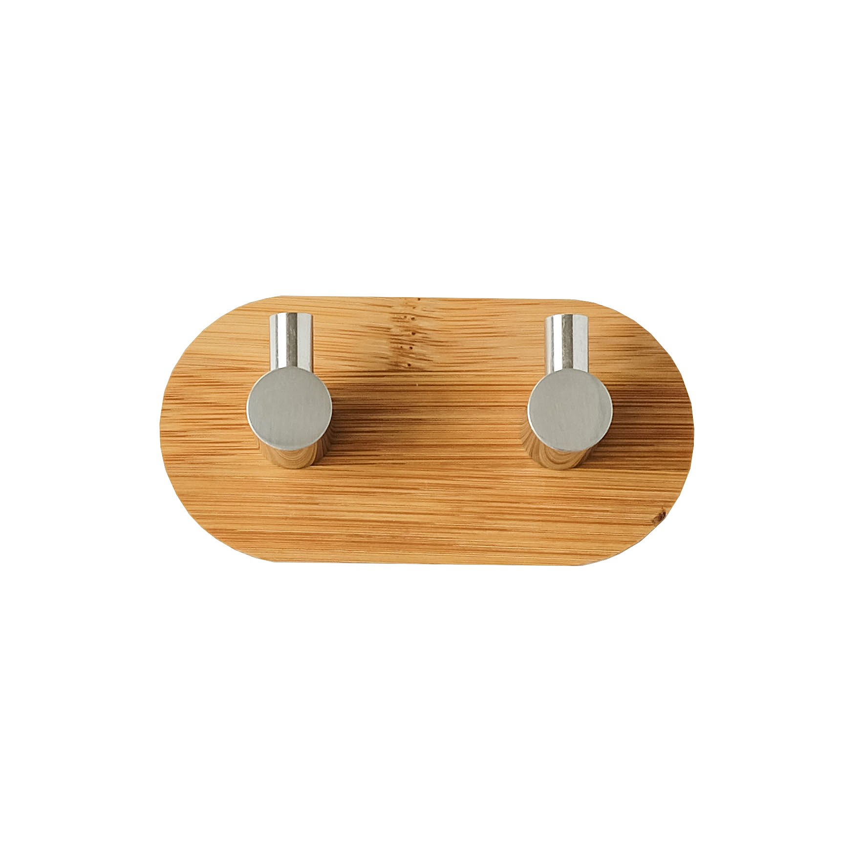 Adhesive Hooks, Bamboo Wood Stainless Steel Strong Stickiness Hook with Single Hook Double Hook Three Hook for Bathroom Kitchen
