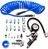 YOTOO Heavy Duty Air Compressor Accessories Kit 20 Pieces with 1/4 inch x 25 feet Polyurethane Air Compressor Hose, 100 PSI Tire Inflator Gauge, Air Blow Gun and Air Hose Fittings