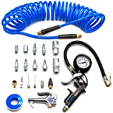 YOTOO Heavy Duty Air Compressor Accessories Kit 20 Pieces with 1/4 inch x 25 feet Polyurethane Air Compressor Hose, 100 PSI T