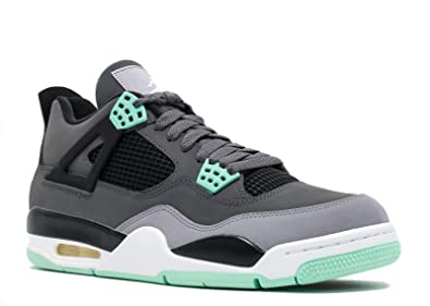 5b1e7d99814 Jordan Nike Mens Air 4 Retro Dark Grey/Green Glow-Cement Grey Leather  Basketball