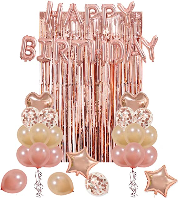 80th Birthday Rose Gold,Decorations,Party,Confetti,Balloons,Banner,Flag Bunting