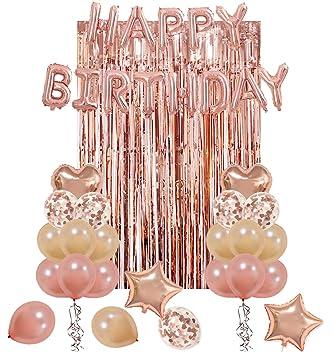 UTOPP Rose Gold Birthday Party Decorations Kit Happy Balloons Banner Heart Star