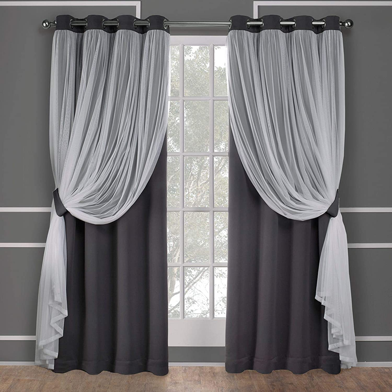 Exclusive Home Curtains Catarina Layered Solid Blackout and Sheer Window Curtain Panel Pair with Grommet Top, 52x96, Black Pearl, 2 Count