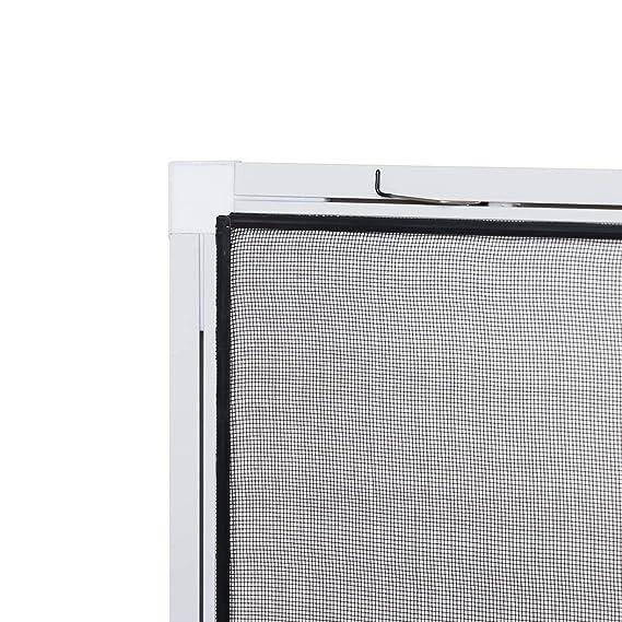 Insektenschutz fürs Fenster: Stabiles Fliegengitter zur einfachen Selbstmontage, Alurahmen in Weiß mit den Maßen 120 x 140, h