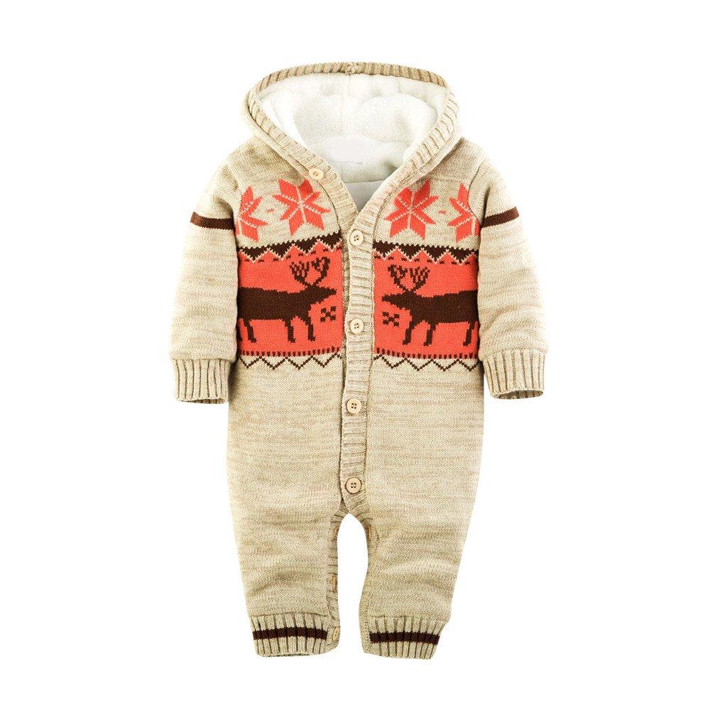 Kleider Kinderbekleidung Honestyi Baby Warm Strampler Neugeborenen Jungen Mädchen Pullover Weihnachten Deer Plüsch mit Kapuze Outwear (DunkeBlau Beige Rot, 7) Honestyi5040