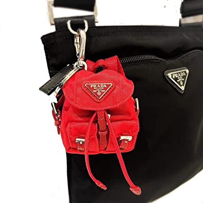 2b2eccf1d392 Amazon.com  Prada Steel key ring with Red nylon iconic prada backpack coin purse  Key Chain 1TT010  Shoes