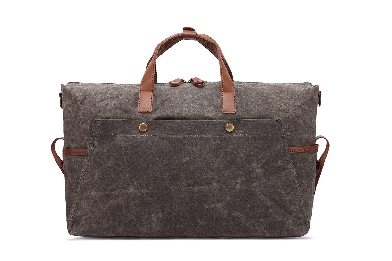 Color : Brown, Size : Large WHXYAA Mens Handbag Retro Oil Canvas Mens Bag Waterproof Travel Bag Large Capacity Computer Bag
