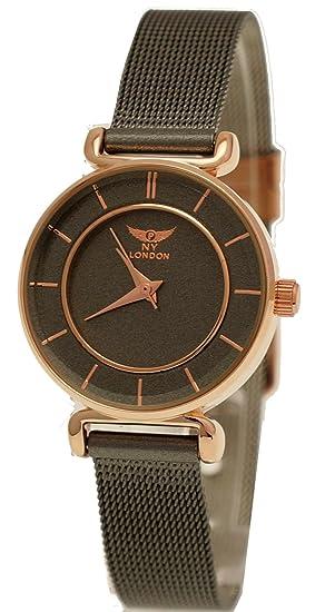 Elegante NY London Designer Mujer Reloj mujer RELOJ DE pulsera gris Rose Gold inkl Relojes Caja