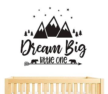 5842e7e21cba2 Dream Big Little One Quote Wall Decals, Nursery Wall Decals, Quote Decal,  Woodland Wall Stickers,...