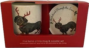 Royal Worcester Wrendale Designs Dachshund Through The Snow Mug & Coaster Set
