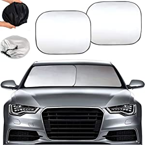 APSG CAR Windshield Sun Shade Dash Protector UV Hot Cold Summer Winter Cool Sunshade Block Window Fold-able Adjustable (EZ Install, EZ FOLD, EZ Store)