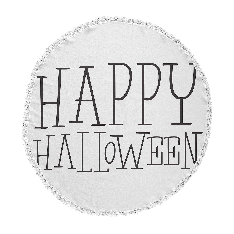 Kess InHouse Kess Original Happy Halloween-White Round Beach Towel Blanket