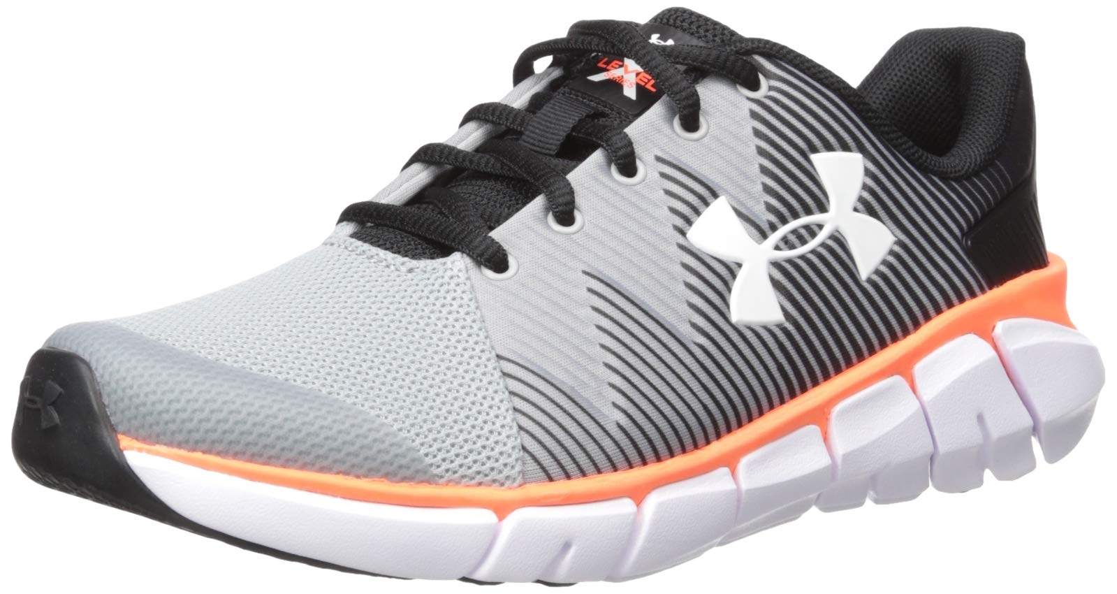 Under Armour Boys' Grade School X Level Scramjet 2 Sneaker, Black (001)/Mod Gray, 4 M US Big Kid