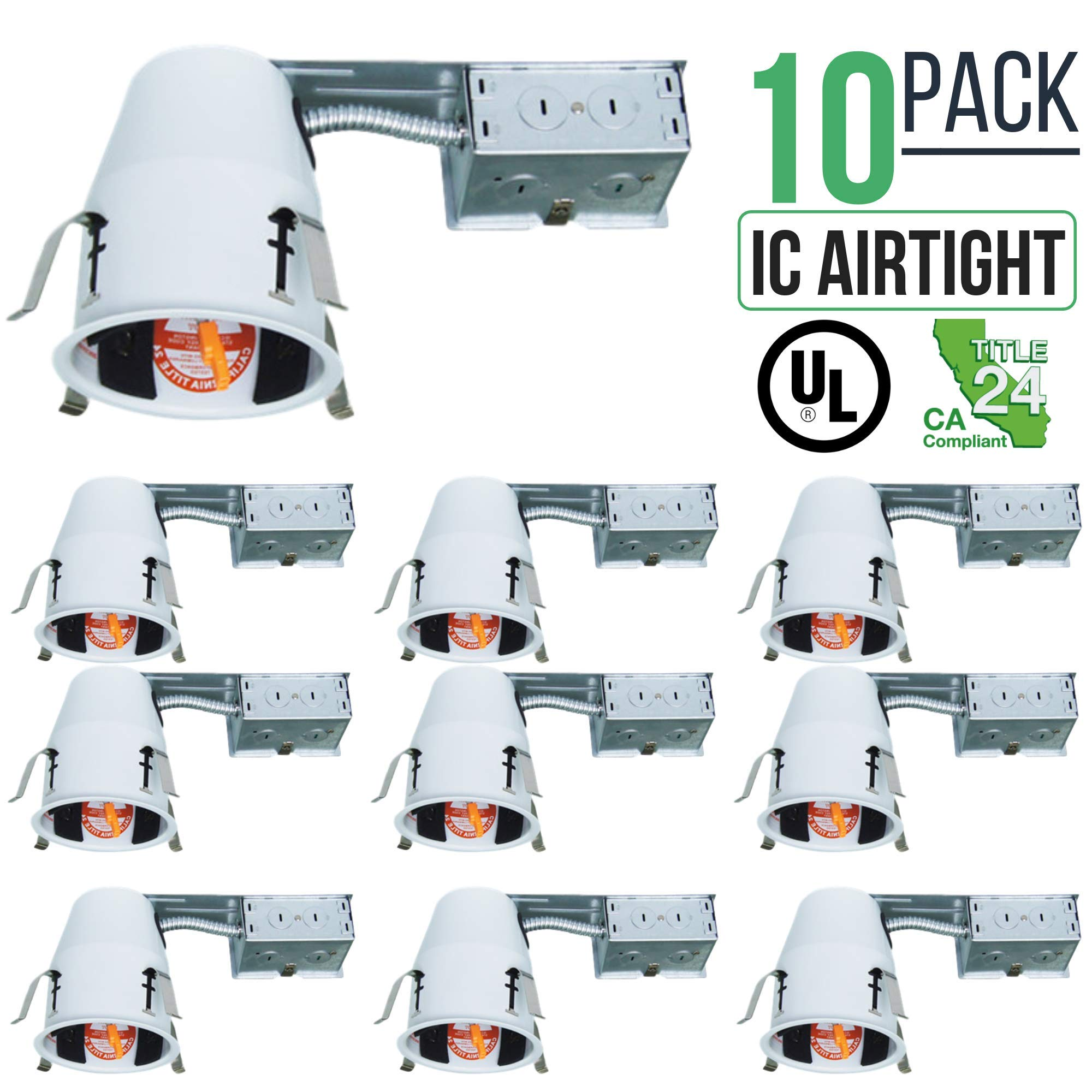 4'' Inch Remodel LED Recessed Can Housing Air Tight IC UL Listed and Title 24 Certified Four Bros Lighting (10 Pack)