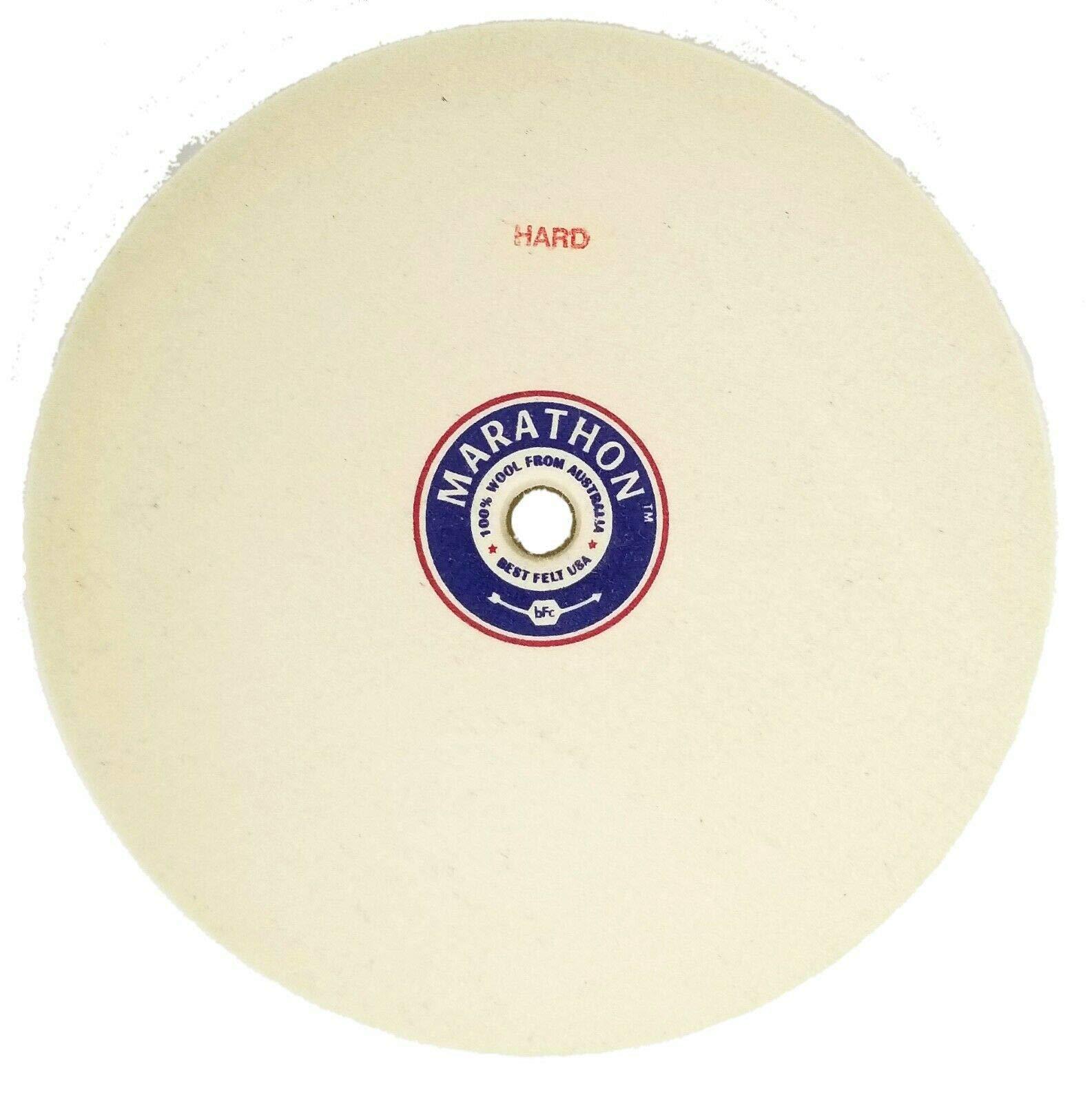Marathon 8'' Felt Polishing Wheel, 1'' Thick, 5/8'' Arbor Hole, Hard Density