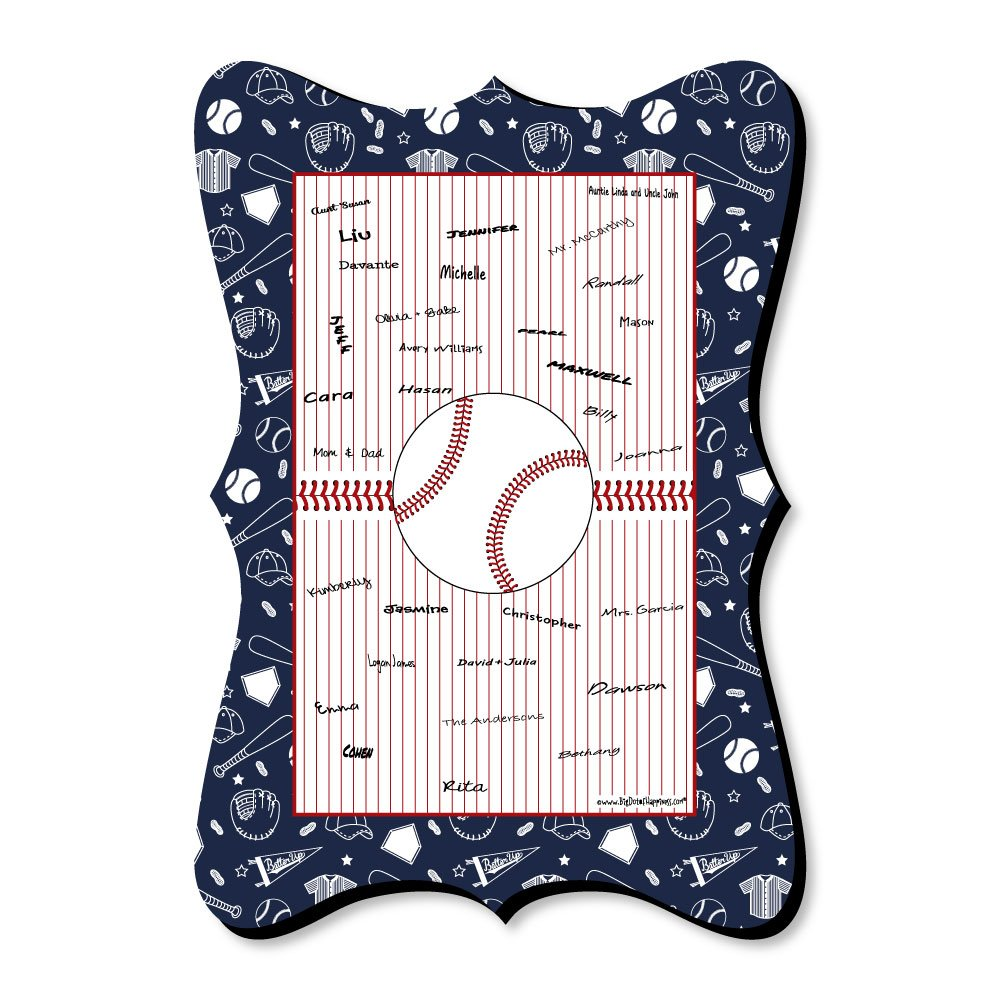 Big Dot of Happiness Batter Up - Baseball - Unique Alternative Guest Book - Baby Shower or Birthday Party Signature Mat
