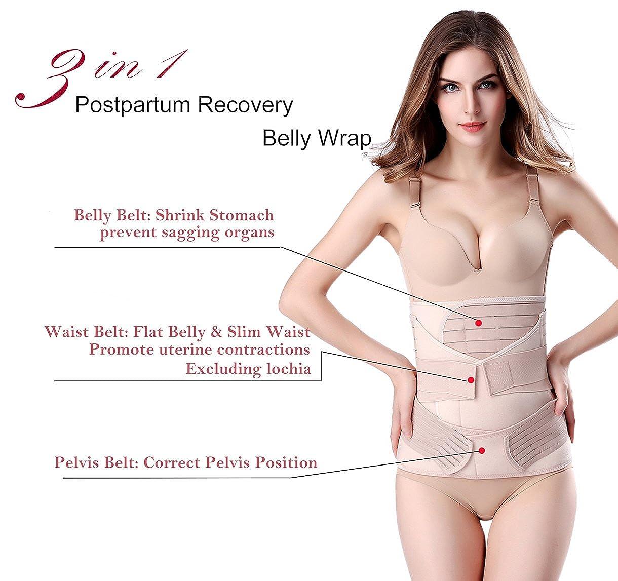 1c7ccdac89 Amazon.com  ChongErfei 3 in 1 Postpartum Support Recovery Belly Wrap Waist Pelvis  Belt Body Shaper Postnatal Shapewear  Clothing