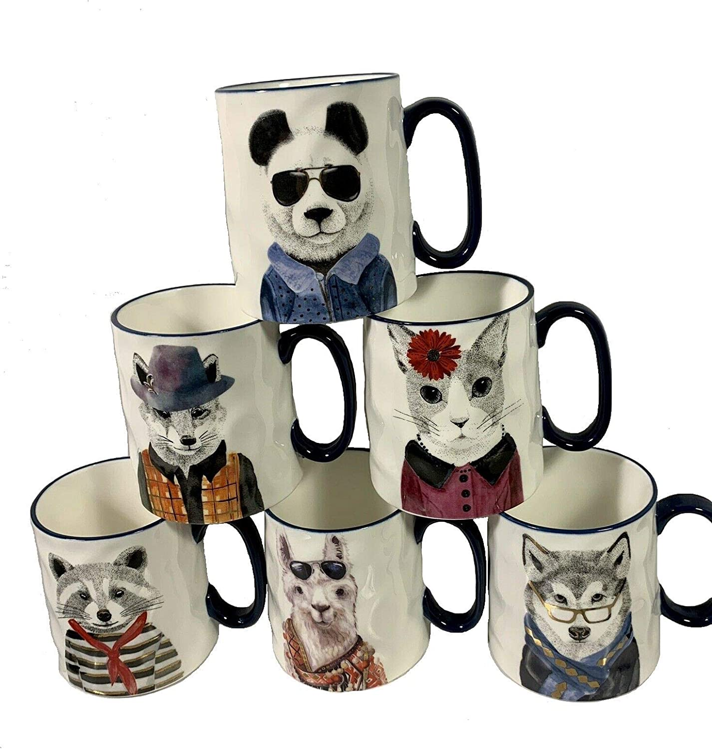 Hipster Animal Stoneware Coffee Mugs by Signature | package of 6 mugs