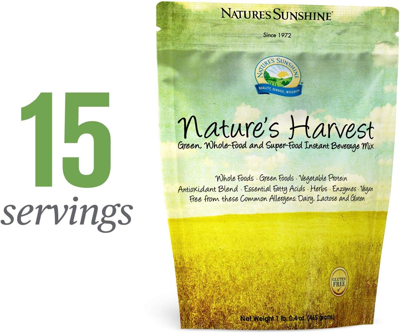 Nature s Sunshine Harvest Supplement, 465 Grams, 15 Servings Provides 13 Grams of Vegetable Protein Plus 75 of the Daily Value for 18 Essential Nutrients per Serving