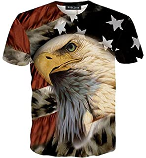 ae7d3073 RXBC2011 Men's American Flag Eagle and Cat Printed T-Shirt XS-5XL…