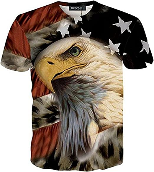 c8ca3ad99 Amazon.com: RXBC2011 Men's American Flag Eagle 3D Printed T-Shirt ...