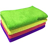 SOFTSPUN Microfiber Cloth - 4 pcs - 30x40 cms - 340 GSM Multicolor - Thick Lint & Streak-Free Multipurpose Cloths - Automotive Microfibre Towels for Car Bike Cleaning Polishing Washing & Detailing