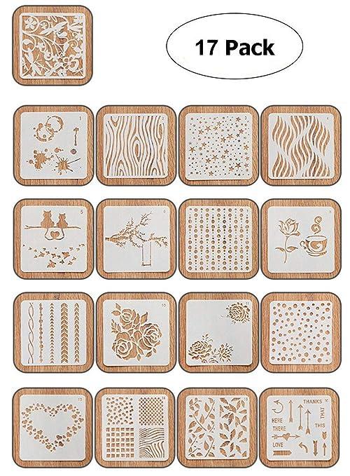 NectaRoy Plantillas de Dibujo de plástico, Plantillas para Manualidades, álbum de Recortes, Decoración
