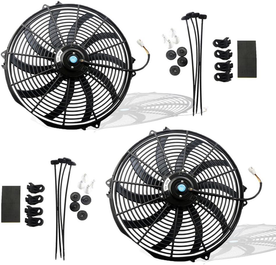 MOSTPLUS Black Universal Electric Radiator Slim Fan Push/Pull 12V + Mounting Kit (16 Inch X2)