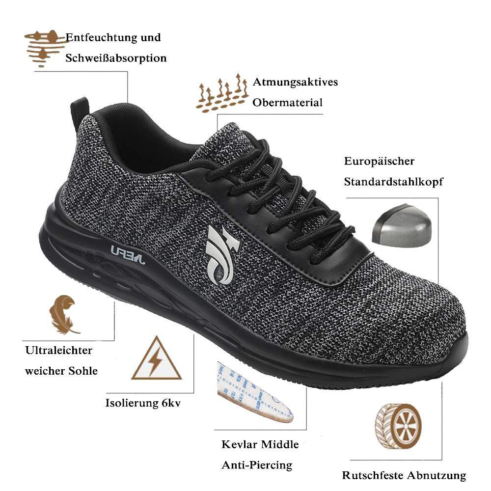 Ulogu Damen Arbeitsschuhe Sicherheitsschuhe Herren Leicht Atmungsaktiv Stahlkappe Sneaker Schutzschuhe Turnschuhe