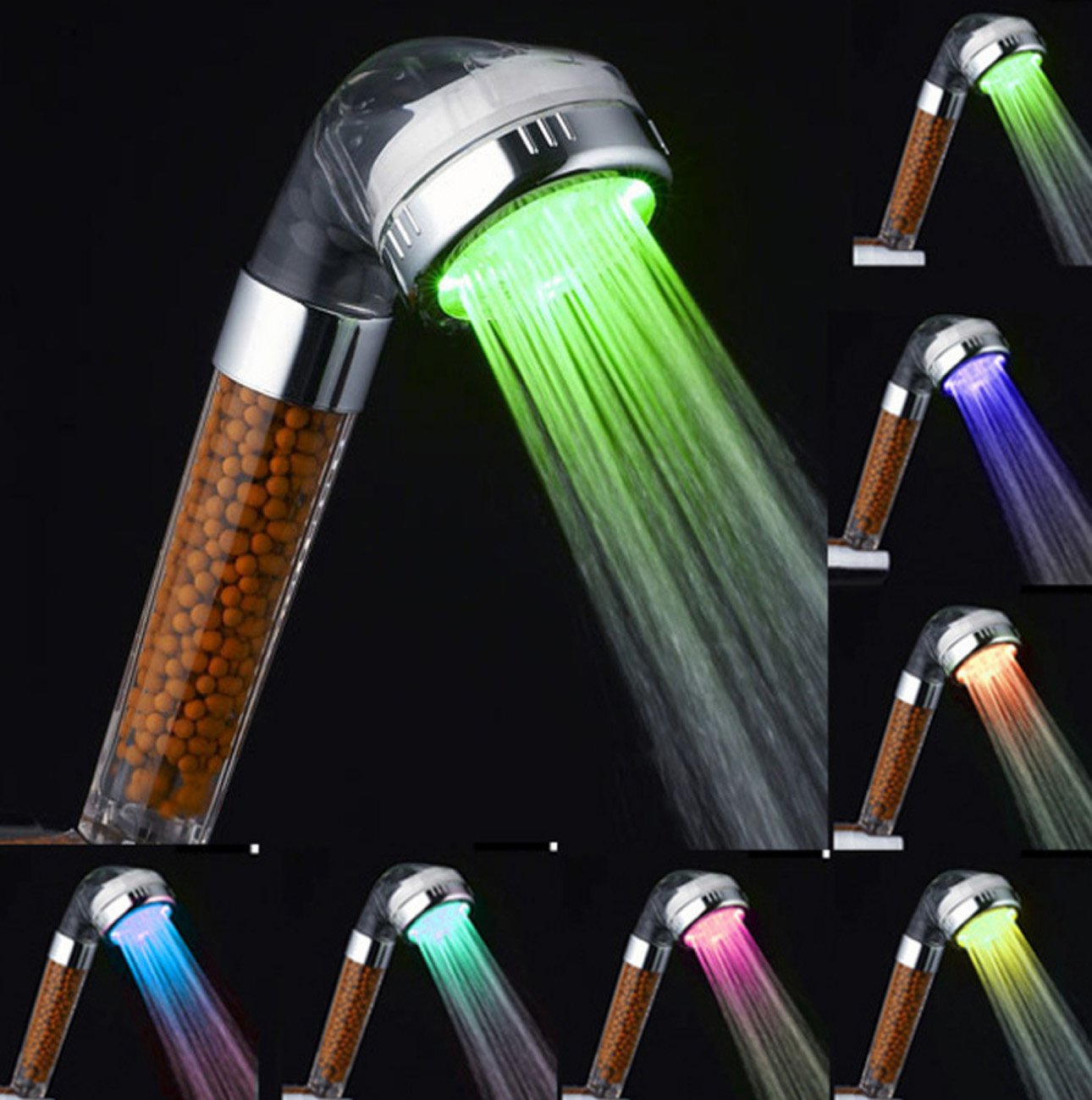 LED Shower Head,7 Colors Changing Light Handheld High Pressure Spa Shower Head Negative Ion Sprinkler And Chlorine Double Filter Saving Water Showerhead