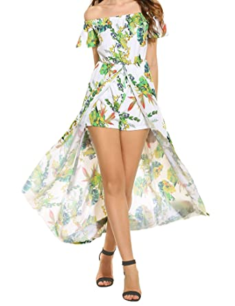 3cd76e538cb Meaneor Off The Shoulder Floral Beach High Low Split Maxi Dress Romper  Jumpsuit at Amazon Women s Clothing store